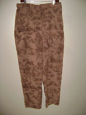 TALBOTS WOMEN PANTS size 14 BROWN OUTDOOR DESIGN TREES CAMOUFLAGE EXQUISITE