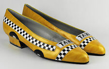 Vintage MARGARET JERROLD ~ Taxi Cab Car Novelty ~ Leather Heel Shoes ~ 6.5 M
