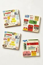 Anthropologie BOTTICINO TRAVEL Marble COASTERS Vtg Suitcase Stickers Luggage TAG