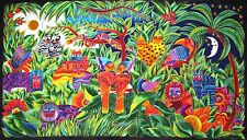 Cotton Fabric Panel Clothworks Laurel Burch Secret Jungle Tropical Animals Birds