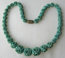 Antique vintage Art Deco necklace faux jade green carved beads original clasp