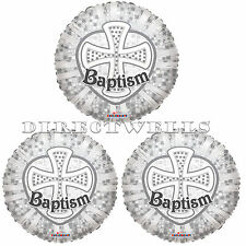 Baptism Silver Cross Mylar or Foil Balloons 18 Inch (3 Balloons)