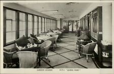 RMS Steamship Queen Mary Interior Real Photo Postcard GARDEN LOUNGE