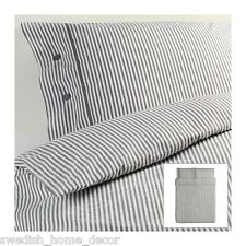 IKEA Grey Classic Ticking Stripe Cottage Duvet Quilt Cover Full Queen Nyponros