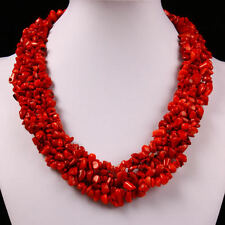 Gorgeous Red Sea Coral Gemstone Stone Chip Beads Chain Choker Necklace Jewelry