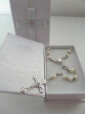 CATHOLIC SILVER & WHITE ROSARY BEADS CRUCIFIX & CHALICE  LORD'S PRAYER BOX new