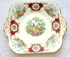 "FOLEY Red 'Broadway' Handled Cake Plate/Dish 9 3/4 x 8 1/4 "" (496)"