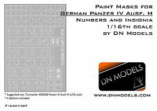 Paint Masks Set for Panzer IV Ausf.H Insignia & Numbers 1/16 Trumpeter 00920