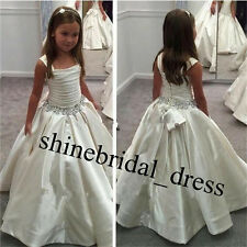 Elegant Satin Baby 2015 First Communion Dresses Ball Gown Flower Girls Dresses