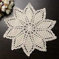 Beige Pure Cotton Yarn Handmade Crochet Lace Doily Placemat Round 23CM Crafts
