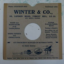 """78rpm 10"""" card gramophone record sleeve / cover WINTER & CO forest hill"""