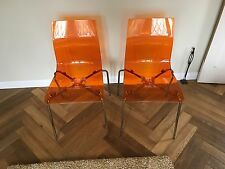 Two John Lewis Acrylic Gel Chairs In Amber
