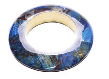 WOODEN ROUND BRACELET,BLUE-BROWN BRUSHED & TRANSPARENT LACQUER COAT(ZX49)