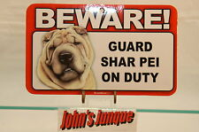 SHAR PEI~BEWARE DOG SIGN~LAMINATED CARD~NEW~SCANDICAL~FREE US SHIPPING~