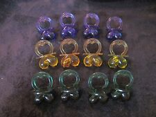 "1 Doz (12) MARDI GRAS COLORED PURPLE-GREEN-GOLD COLORED ""BOOB PACIFIERS"" BREAST"
