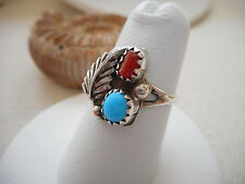 Vintage Southwest Sterling Silver Coral Turquoise Ring  size 5.75   RE4002