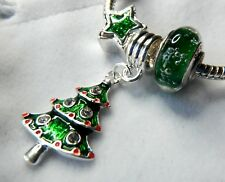 CHRISTMAS TREE CHARM EUROPEAN ENAMEL DANGLE MURANO GLASS FREE JEWELRY POUCH