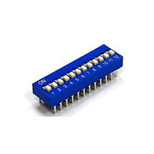 5x Switch Module 12p 12-Bit 12 Position Way Slide Type 2.54mm Pitch DIP (Blue)