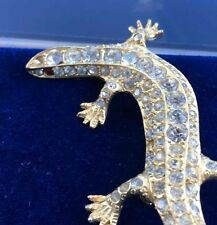 LARGE Rhinestone LIZARD Pin Brooch Costume Gecko Iguana GoldTone Red Eyes B&W
