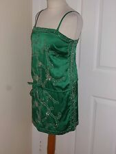 LOOK Green Sequin Party Long Kaftan Top Mini Dress Size UK 10, EU 36
