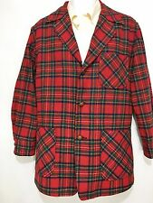 Pendleton Mens M Red Plaid Wool Sport Coat Leather Buttons Vintage Short Arms