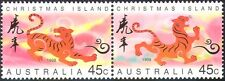 Christmas Island 1998 YO Tiger/Greetings/Animals/Lunar Zodiac/Luck 2v pr (b5076)