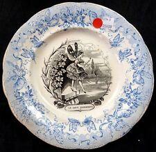 Assiette parlante ancienne Creil et Montereau, série papillons n°5, mi-19ème.
