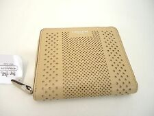 NWT COACH BLEECKER PERFORATED LEATHER MEDIUM CONTINENTAL ZIP WALLET TAN F51146
