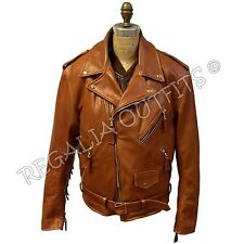 Mens Classic Brando Western Fringe Handmade Genuine Leather Motorcycle Jacket
