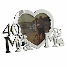 40th Ruby Wedding Anniversary Silver Plated Photo Frame Gift Ideas Present