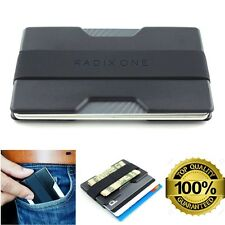 Men Slim Front Pocket Wallet Black Thin RFID Block Credit Card Holder Money Clip
