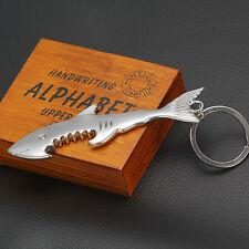 Novità Shark Portachiavi Apribottiglie Metallo Argento Con Catenella Nuovo