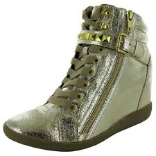 Steve Madden Huston sneakers platform high wedge shoes boots Metallic 6 New