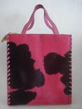 ADRIENNE VITTADINI FUR COWHIDE TOTE PURSE HOT PINK YELLOW GORGEOUS NEW
