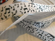1m g/grain white ribbon with black musical notes music clips craft cake party