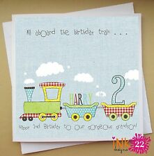 Personalised Boys Train Card 1st, 2nd, 3rd Birthday. Son, Grandson, Nephew,