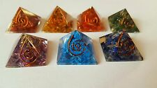 REIKI ENERGY CHARGED COMPLETE ORGONE PYRAMID CRYSTAL CHAKRA SET OF 7 Uk