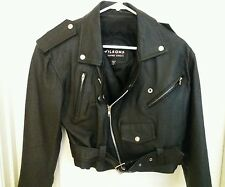 WILSONS Womens XS Black Cropped Leather Biker Motorcycle Jacket NEVER WORN!