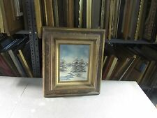 """Vintage Oil on Board Painting Signed Ansel 8"""" x 10"""" - 16"""" x 18"""" Winter Landscape"""