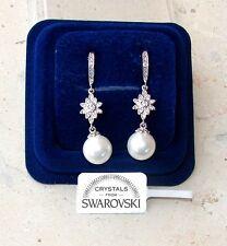 Orecchini da donna pl oro bianco 18K zirconi cristalli swarovski veri SW1/ perla