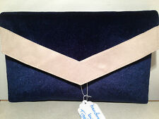 OVER SIZED NAVY BLUE AND CREAM faux suede envelope clutch bag,  fully lined
