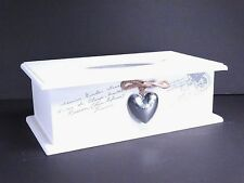 Shabby Chic Style White Wooden Tissue Box Holder With Heart and Cover Xmas gift