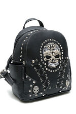 LColette Skull Stitches And Studs Backpack SKW35381 Black Handbag