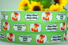 """7/8"""" INCH 22MM WHAT DOES THE FOX SAY? DESIGN GROSGRAIN RIBBON 4 BOW 5 YARDS"""