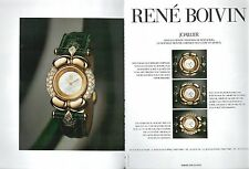 ▬► PUBLICITE ADVERTISING AD MONTRE WATCH René BOIVIN 2 pages 1992