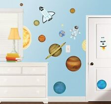 New Giant OUTERSPACE WALL DECALS Planets Stars Rockets Stickers Boys Room Decor