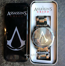 Assassins Creed Logo Men's Wrist Watch Metal Link Band in Collectors Tin Box NEW