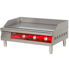 "Avantco EG30N 30"" Electric Red and Silver Commercial Countertop Griddle"
