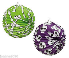 HALLOWEEN HORROR DAY OF THE DEAD SKULL AND BONE HANGING DECORATION PAPER LANTERN