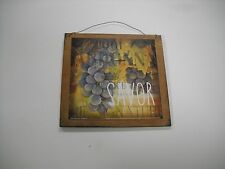 Savor Wine grapes wood wooden wall art sign kitchen bar decor chardonnay